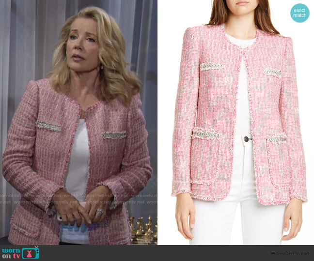 Tonal Fringe Tweed Jacket by Rebecca Taylor worn by Nikki Reed Newman (Melody Thomas-Scott) on The Young & the Restless