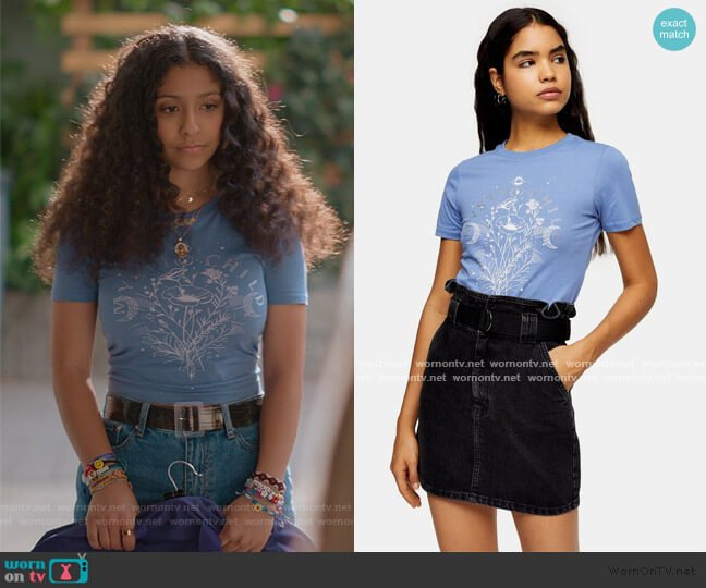 Blue Diamante Mystic Child T-Shirt by Topshop worn by Julie (Madison Reyes) on Julie & the Phantoms
