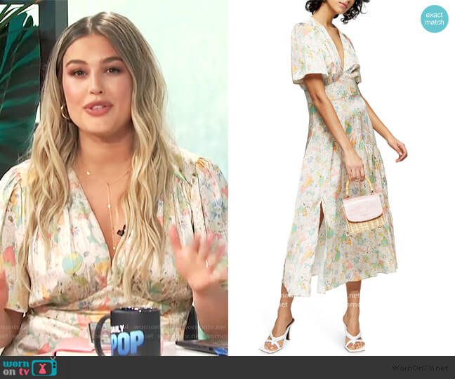 Willow Floral Angel Sleeve Satin Midi Dress by Topshop worn by Carissa Loethen Culiner  on E! News