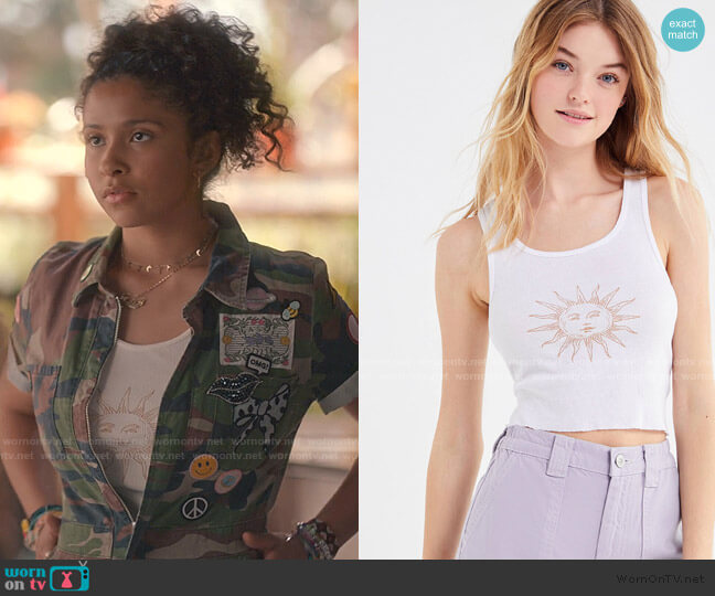Madly Deeply Sun Ribbed Cropped Tank Top by Urban Outfitters worn by Julie (Madison Reyes) on Julie & the Phantoms