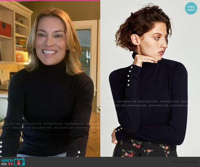 Turtleneck Sweater with Pearl Buttons by Zara worn by Kit Hoover on Today