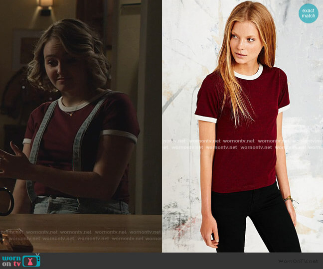 Ringer Marl Tee in Maroon by Urban Outfitters worn by Isabel