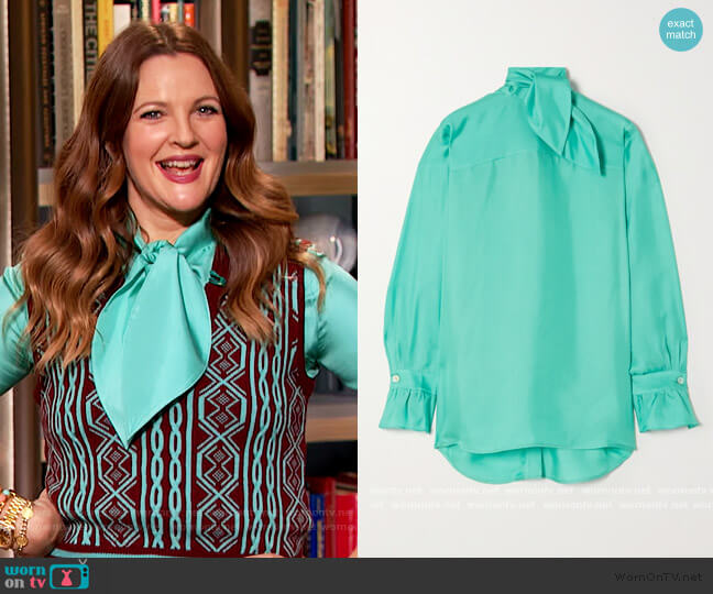 Tie-neck silk-twill blouse by Victoria Beckham worn by Drew Barrymore  on The Drew Barrymore Show