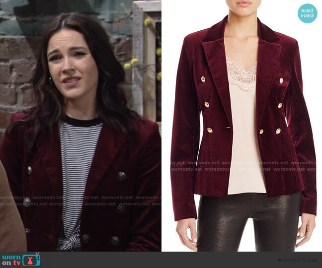 Velvet Gold Button Blazer by Aqua x Maddie & Tae worn by Tessa Porter (Cait Fairbanks) on The Young & the Restless