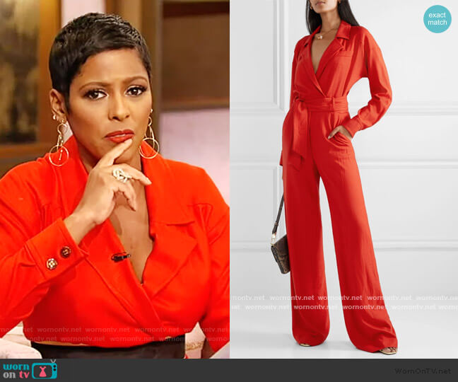 Lionel wrap-effect woven jumpsuit by Veronica Beard worn by Tamron Hall  on Tamron Hall Show