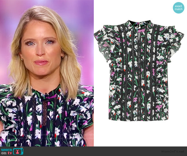 Sol floral cotton-blend top by Veronica Beard worn by Sara Haines  on The View