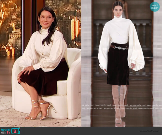 Fall 2020 Collection by Victoria Beckham worn by Lucy Liu on the Drew Barrymore Show