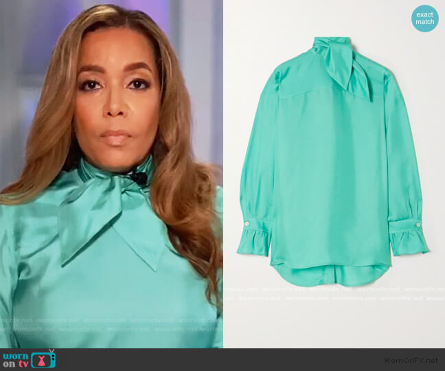 Tie-neck silk-twill blouse by Victoria Beckham worn by Sunny Hostin  on The View