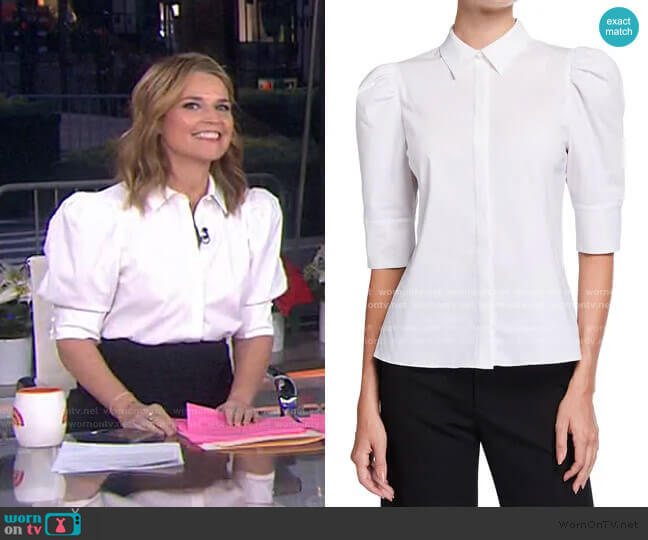 Willa Scrunched Puff Sleeve Top by Alice + Olivia worn by Savannah Guthrie  on Today