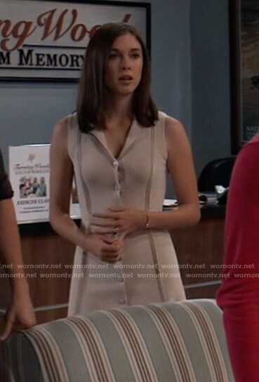 Willow's beige button front sleeveless dress on General Hospital