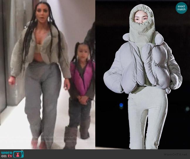 Season 8 Puffer Jacket by Yeezy worn by Kim Kardashian  on Keeping Up with the Kardashians