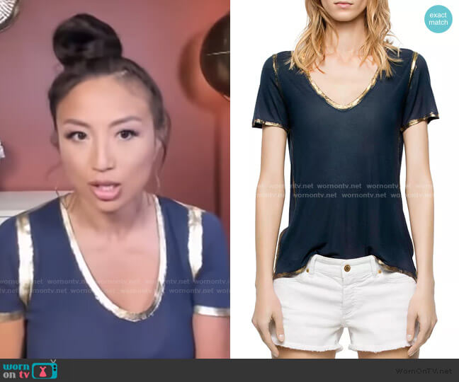 Tino Gold Foil-Trimmed Tee by Zadig & Voltaire worn by Jeannie Mai  on The Real