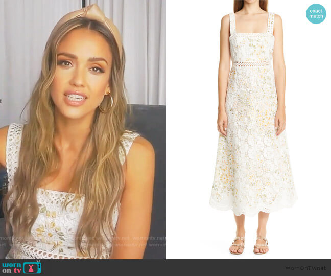 Amelie Floral Broderie Anglaise Midi Sundress by Zimmermann worn by Jessica Alba on Live with Kelly