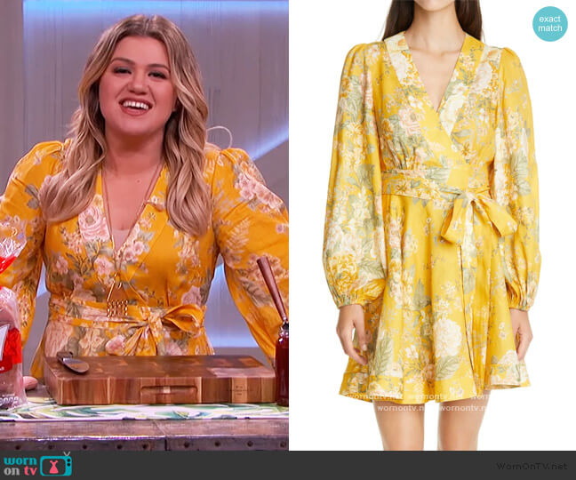Amelie Floral Linen Wrap Dress by Zimmermann worn by Kelly Clarkson  on The Kelly Clarkson Show
