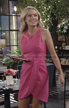Abby's pink sleeveless draped dress on The Young and the Restless