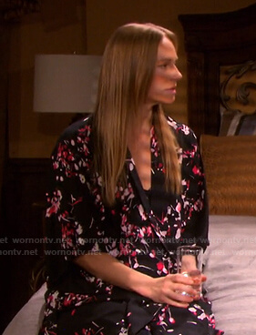 Abigail's black floral robe on Days of our Lives