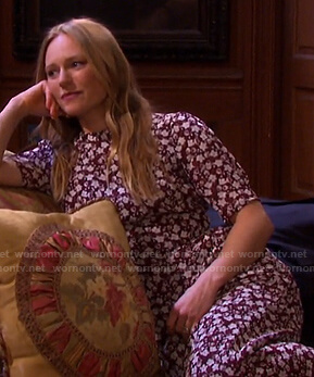 Abigail's red floral midi dress on Days of our Lives