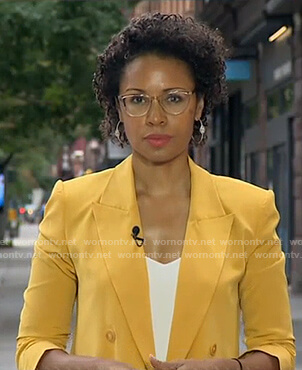 Adrienne's yellow double breasted blazer on Good Morning America