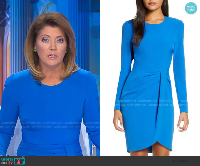 Ivana Long Sleeve Sheath Dress by Black Halo worn by Norah O'Donnell  on CBS Evening News