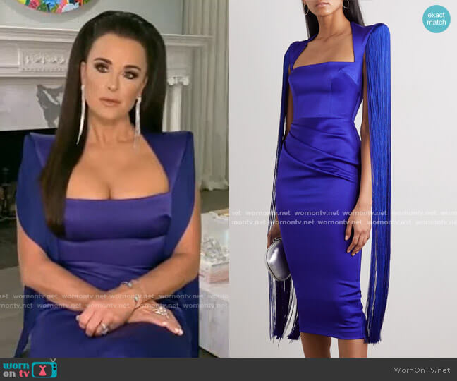 Delany Fringed draped Satin Midi Dress by Alex Perry worn by Kyle Richards  on The Real Housewives of Beverly Hills