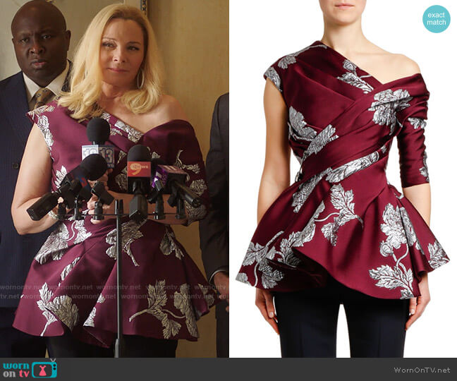 Alexander McQueen Asymmetric Northern-Rose Brocade Top worn by Margaret Monreaux (Kim Cattrall) on Filthy Rich