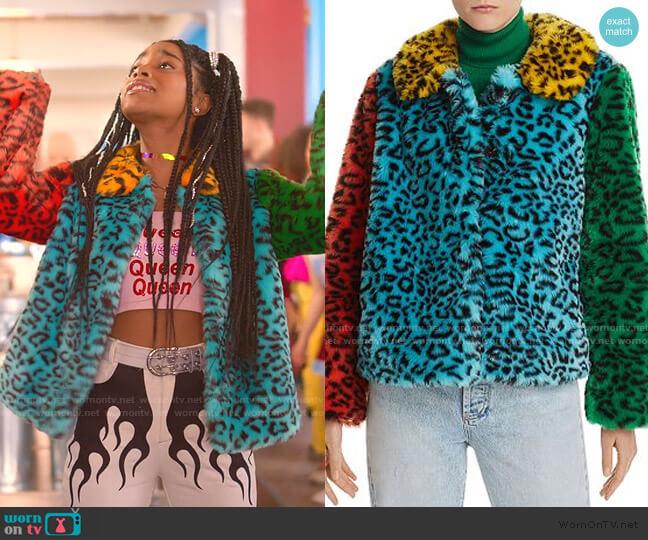 Jerri Color-Block Leopard-Print Faux Fur Coat by Alice + Olivia worn by Flynn (Jadah Marie) on Julie & the Phantoms