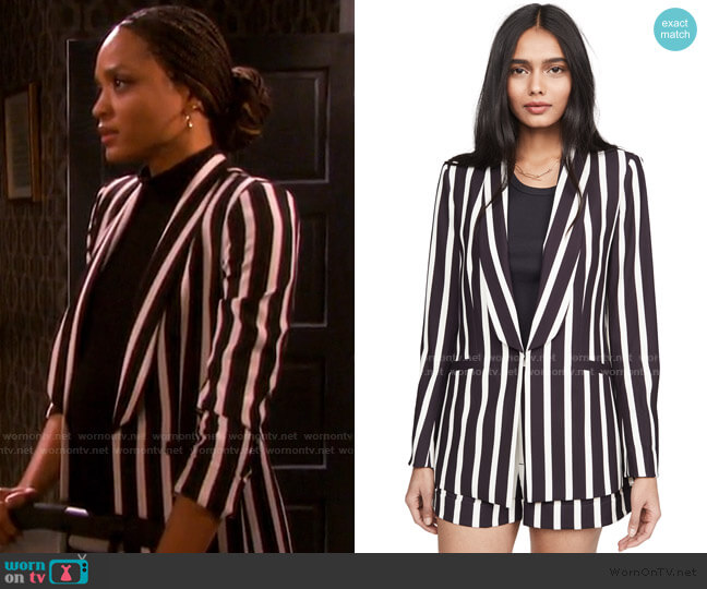 Skye Strong Shoulder Boxy Boyfriend Blazer by Alice + Olivia worn by Lani Price (Sal Stowers) on Days of our Lives