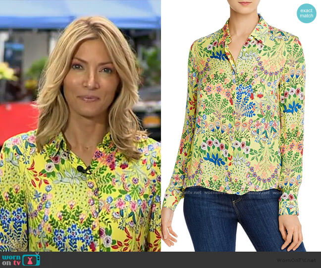 Willa Floral-Print Button-Down Shirt by Alice + Olivia worn by Deirdre Bolton on GMA