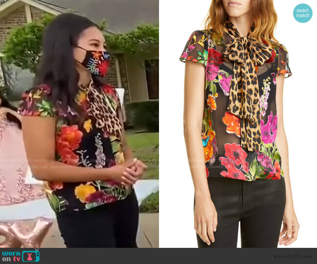 Jeannie Bow Blouse by Alice + Olivia worn by Morgan Radford on Today