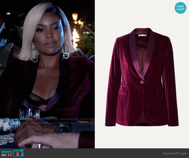 Alice + Olivia Macey satin-trimmed velvet blazer worn by Sydney Burnett (Gabrielle Union) on LA's Finest