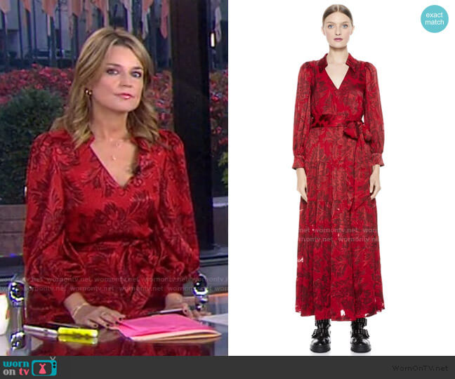 Sitara collared Maxi Dress by Alice + Olivia worn by Savannah Guthrie  on Today