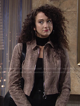 Alyssa's snake print zip jacket on The Young and the Restless