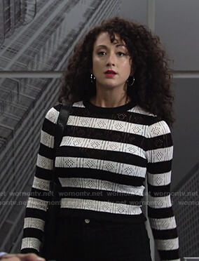 Alyssa's striped pointelle sweater on The Young and the Restless