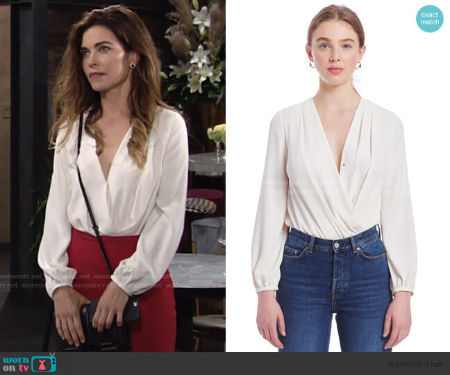 Crossover Bodysuit by Amanda Uprichard worn by Victoria Newman (Amelia Heinle) on The Young & the Restless
