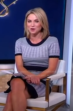 Amy's black striped scalloped dress on Good Morning America