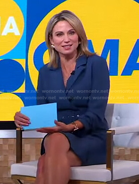 Amy's blue belted blazer dress on Good Morning America
