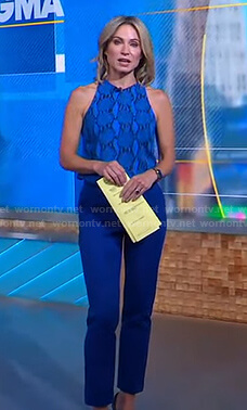 Amy's blue snake print sleeveless top on Good Morning America