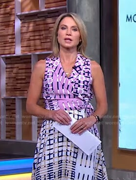 Amy's mixed check print dress on Good Morning America