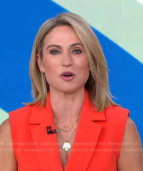 Amy's orange sleeveless blazer on Good Morning America