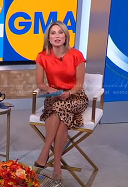 Amy's red top and leopard print skit on Good Morning America