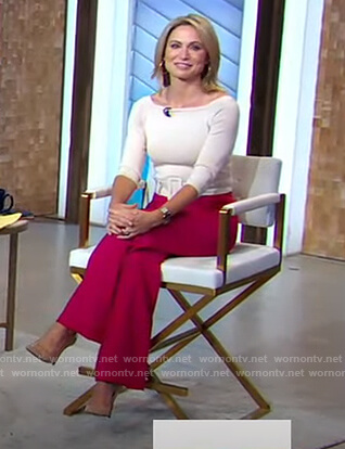 Amy's white belted top on Good Morning America