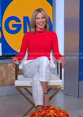Amy's white grid check pants on Good Morning America