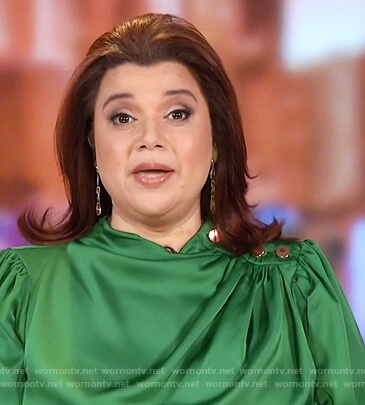 Ana's green satin button shoulder top on The View
