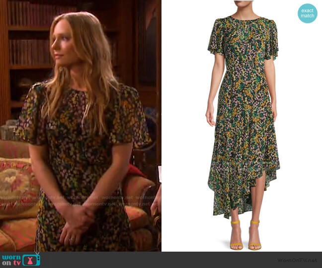 Flutter-Sleeve Asymmetrical Floral Dress by ASTR the Label worn by Abigail Deveraux (Marci Miller) on Days of our Lives