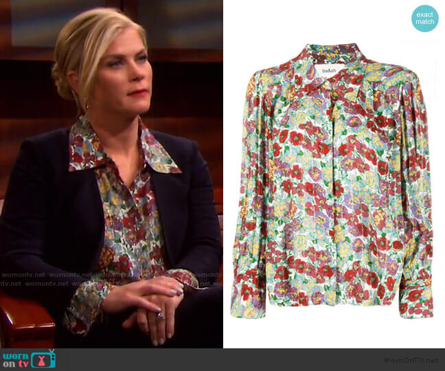 Phara Pointed Collar Floral Shirt by Ba&Sh worn by Sami Brady (Alison Sweeney) on Days of our Lives