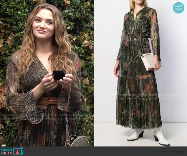 Hendrix Pleated Maxi Dress by Ba&Sh worn by Summer Newman (Hunter King) on The Young & the Restless
