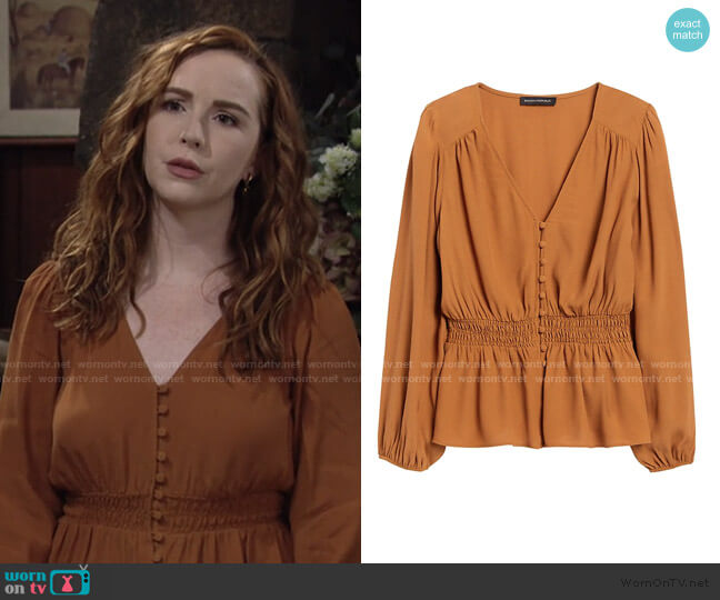 Boho Peplum Top by Banana Republic worn by Mariah Copeland (Camryn Grimes) on The Young & the Restless