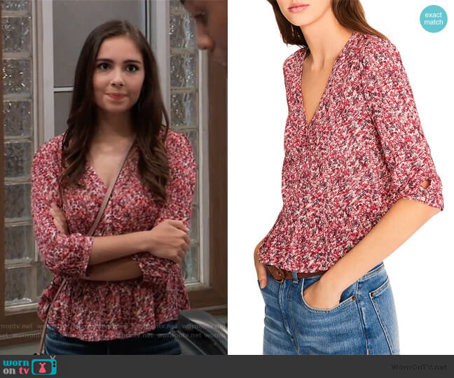 Nelly Printed Peplum Top by Ba&sh worn by Molly Lansing-Davis (Haley Pullos) on General Hospital