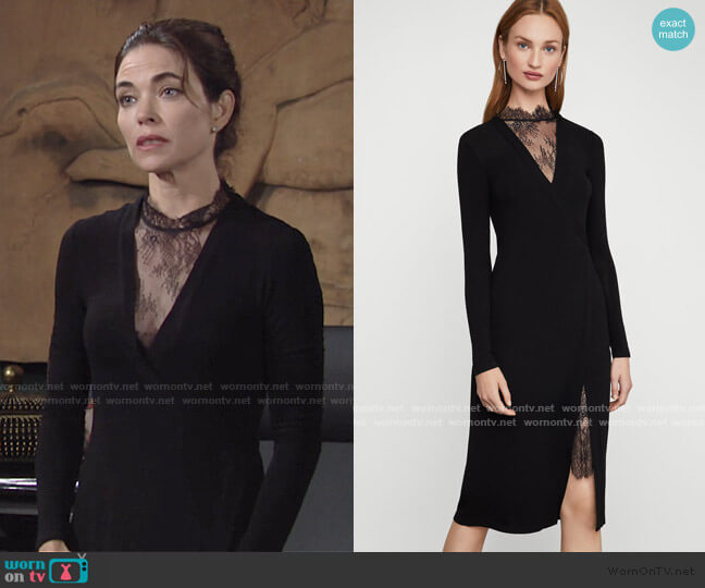 Lace Neck Dress by Bcbgmaxazria worn by Victoria Newman (Amelia Heinle) on The Young & the Restless