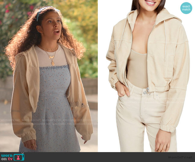 Corduroy Crop Hooded Jacket by BDG Urban Outfitters worn by Julie (Madison Reyes) on Julie & the Phantoms